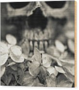Human Skull Among Flowers Wood Print