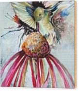 Humming Bird Wood Print by Mindy Newman