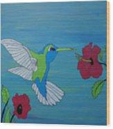 Hummingbird And Flowers Wood Print