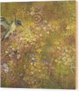Hummingbird And Hydrangeas Wood Print