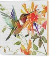 Hummingbird And Orange Flowers Wood Print