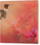 Hummingbird And Peach Hibiscus Wood Print
