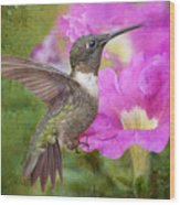 Hummingbird And Petunias Wood Print by Bonnie Barry