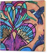 Hummingbird And Stained Glass Hearts Wood Print