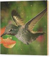 Hummingbird And The Monkey Flowers Wood Print