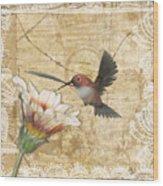 Hummingbird And Wildflower Wood Print