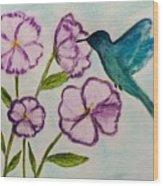 Hummingbird Blue Wood Print