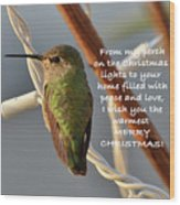 Hummingbird Christmas Card Wood Print