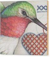 Hummingbird Handiwork Wood Print