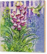 Hummingbird In Foxgloves  Wood Print