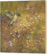 Hummingbird In Hydrangeas Wood Print