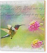 Hummingbird With Bible Verse Wood Print
