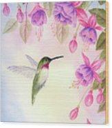Hummingbird With Fuchsia Wood Print