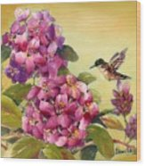 Hummingbird With Rhododendron Wood Print