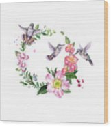 Hummingbird Wreath In Watercolor Wood Print