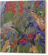 Hummingbirds 2, Abstract Art Wood Print