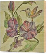 Hummingbirds And Hibiscus Wood Print