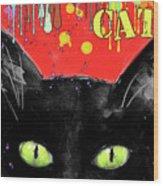 humorous Black cat painting Wood Print