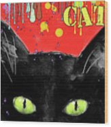 humorous Black cat painting Wood Print by Svetlana Novikova