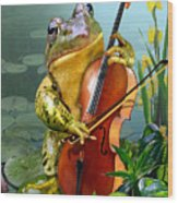 Humorous Scene Frog Playing Cello In Lily Pond Wood Print