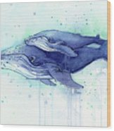 Humpback Whale Mom And Baby Watercolor Wood Print