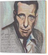 Humphrey Bogart  Not A Chess Piece Was Out Of Place Wood Print by Kean Butterfield