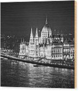 Hungarian Parliament Night Bw Wood Print