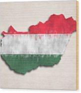 Hungary Map Art With Flag Design Wood Print