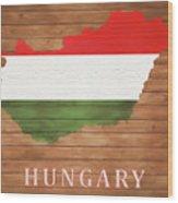 Hungary Rustic Map On Wood Wood Print