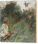 Hunter And Mallards Wood Print