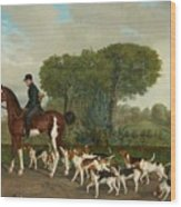 Hunter With A Pack Of Dogs Wood Print
