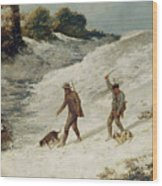 Hunters In The Snow Or The Poachers Wood Print by Gustave Courbet