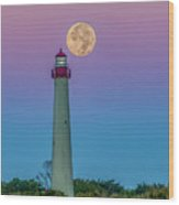 Hunter's Moon Over Cape May Lighthouse Wood Print
