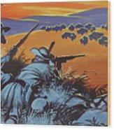 Hunting Buffalo In America Wood Print