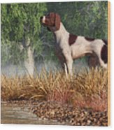 Hunting Dog By A River Wood Print