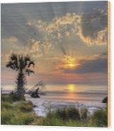 Hunting Island Sc Sunrise Palm Wood Print