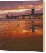 Huntington Beach At Sunset Wood Print
