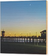 Huntington Beach High Surf At Night Wood Print