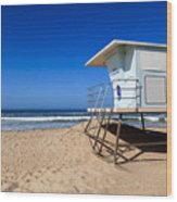 Huntington Beach Lifeguard Tower Photo Wood Print by Paul Velgos