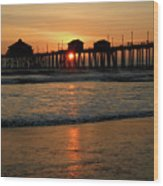 Huntington Beach Pier At Sunset Wood Print