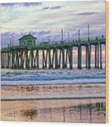 Huntington Beach Pier Panorama Colo Wood Print