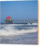 Huntington Beach Pier Photo Wood Print by Paul Velgos