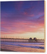 Huntington Beach Pier Sunset  Wood Print