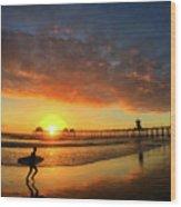 Huntington Beach Pier Sunset Wood Print