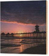 Huntington Pier At Sunset Wood Print