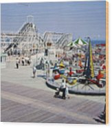 Hunts Pier On The Wildwood New Jersey Boardwalk, Copyright Aladdin Color Inc. Wood Print