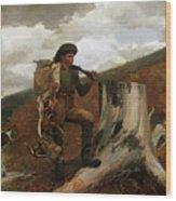 A Huntsman And Dogs Wood Print