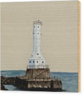 Huron Harbor Lighthouse Wood Print