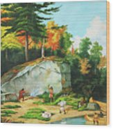 Huron's At A Portage Preparing To Camp Wood Print