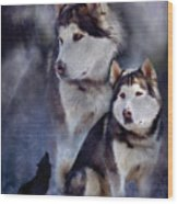 Husky - Night Spirit Wood Print